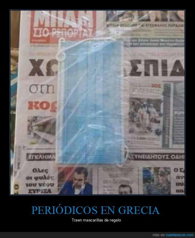 grecia,mascarilla,periódico