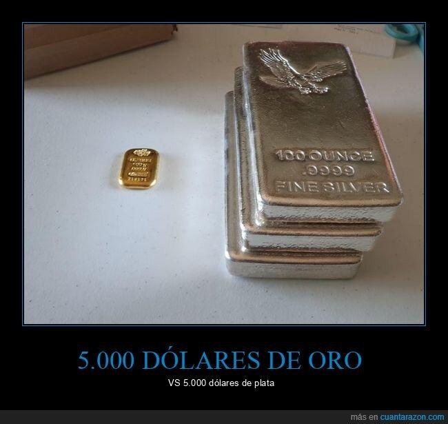 comparación,oro,plata,valor