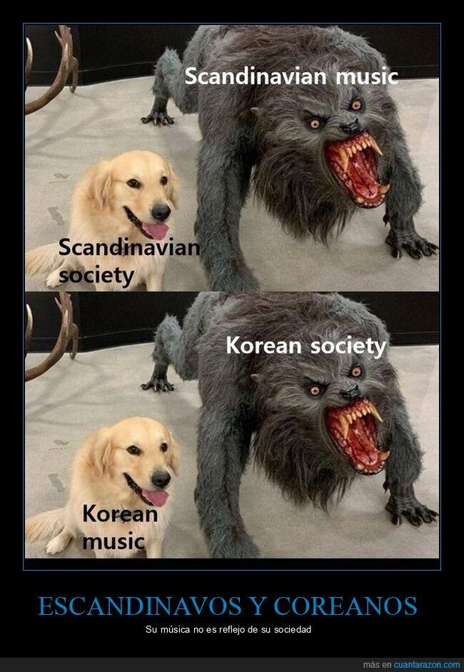 coreanos,escandinavos,hombre lobo,música,sociedad