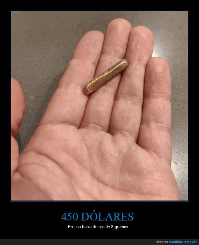 450 dólares,8 gramos,barra,oro