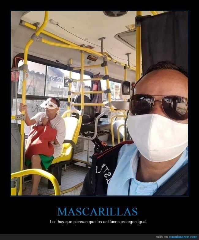 antifaz,autobús,coronavirus,mascarilla,wtf