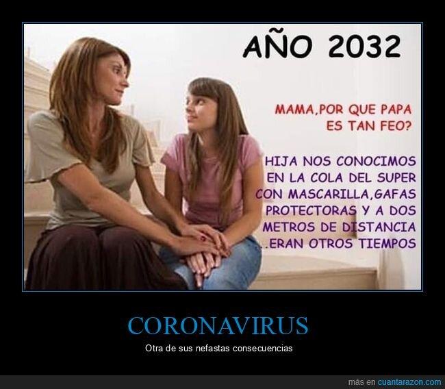 2032,coronavirus,feo,hija,madre,mascarilla,padre