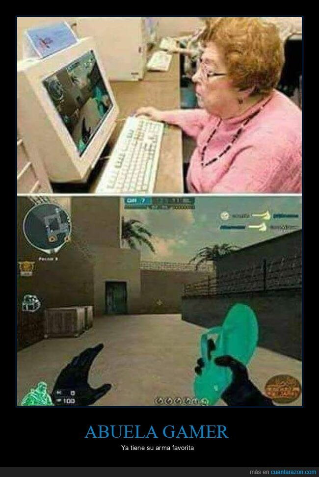 abuela,arma,chancla,gamer,videojugo