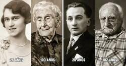 Enlace a Personas que tienen más 100 años de edad y cómo se veían cuando eran jóvenes
