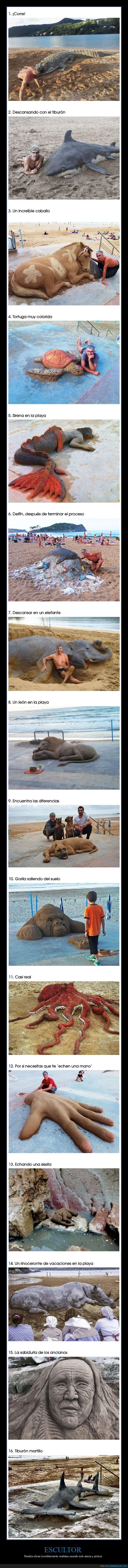 arena,escultor,obras,playa