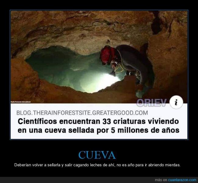 científicos,criaturas,cueva,sellada