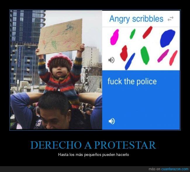 cartel,niño,protesta