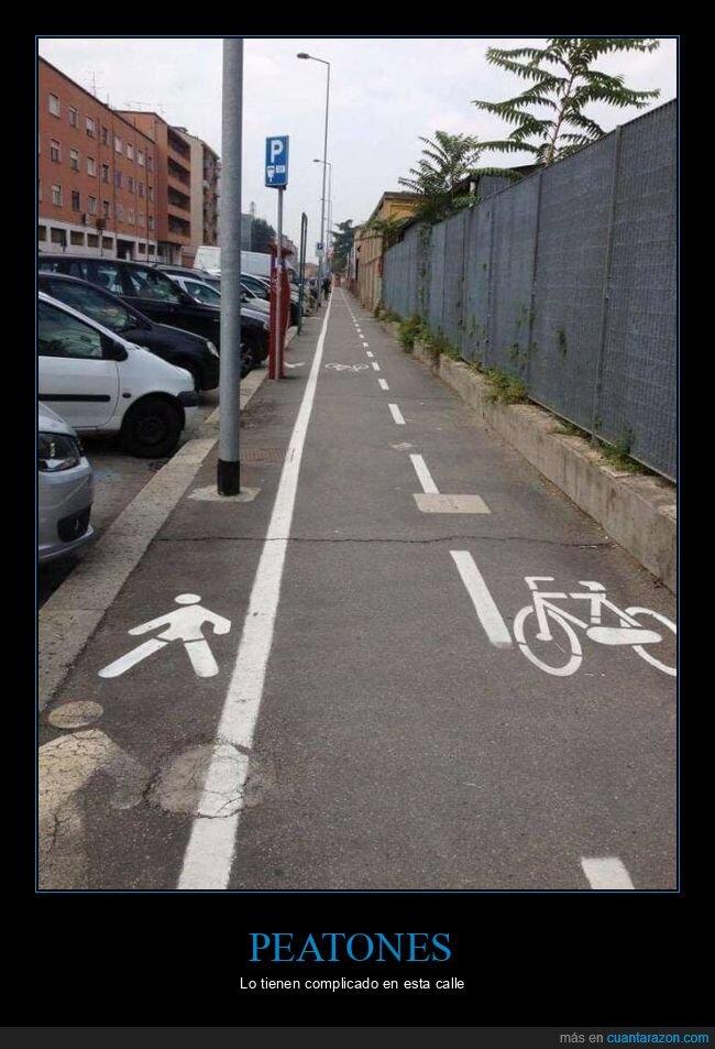 carril bici,fails,farolas,peatones