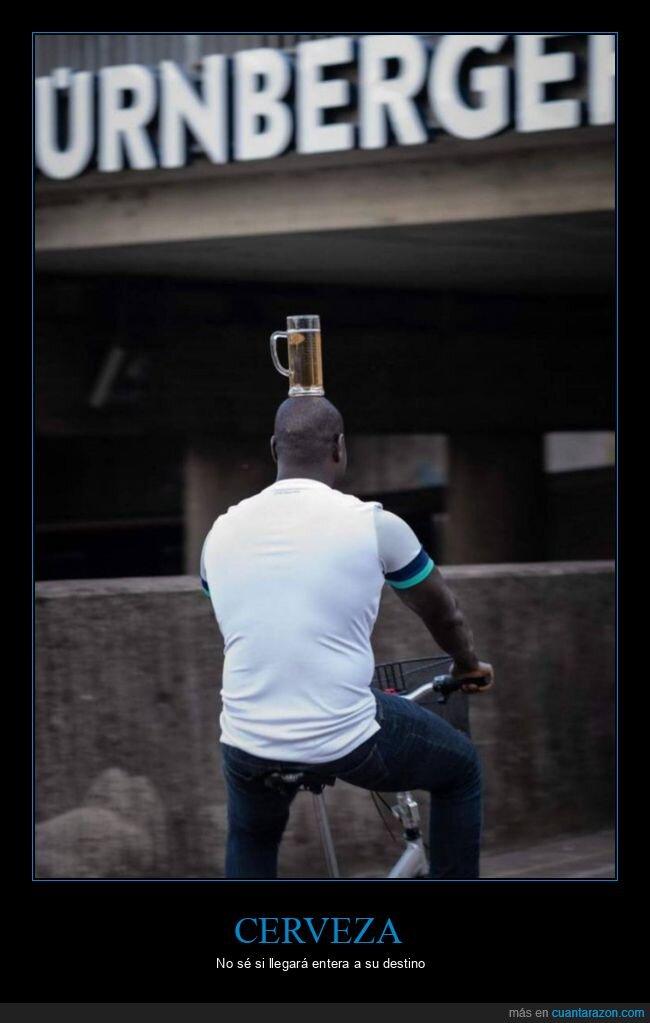 bicicleta,cabeza,cerveza,equilibrio,wtf