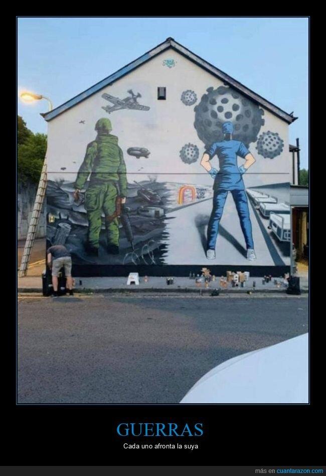 coronavirus,médico,mural,soldado