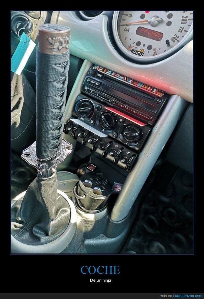 coche,espada,ninja,palanca de cambios