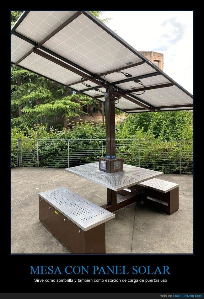 estación de carga,mesa,panel solar,sombrilla