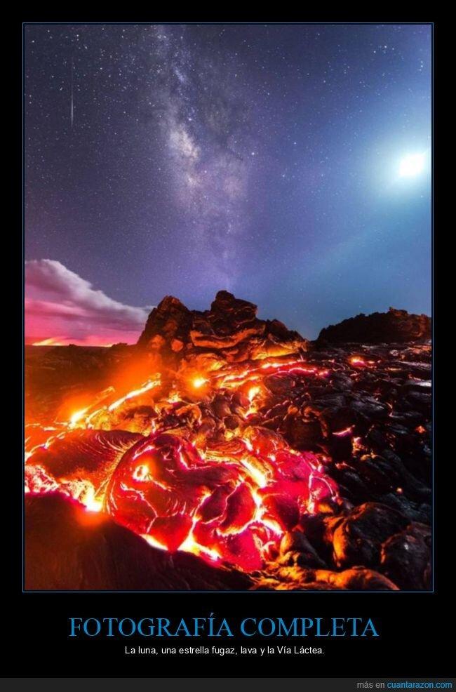 estrella fugaz,fotografía,lava,luna,vía láctea