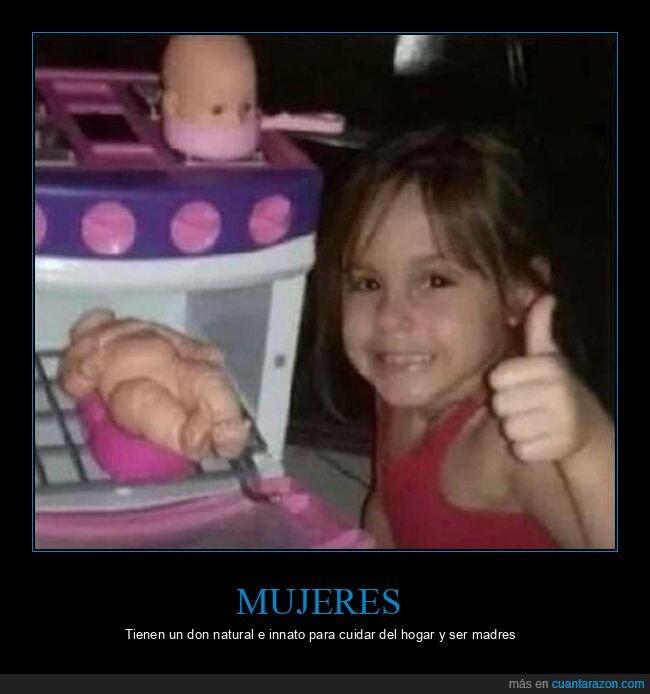 horno,muñeca,niña