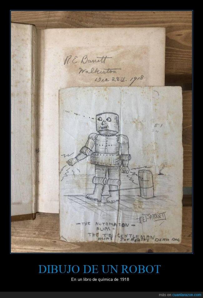 1918,dibujo,libro,robot