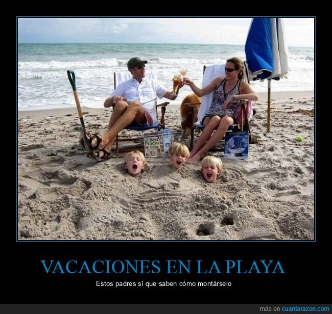 hijos,padres,playa