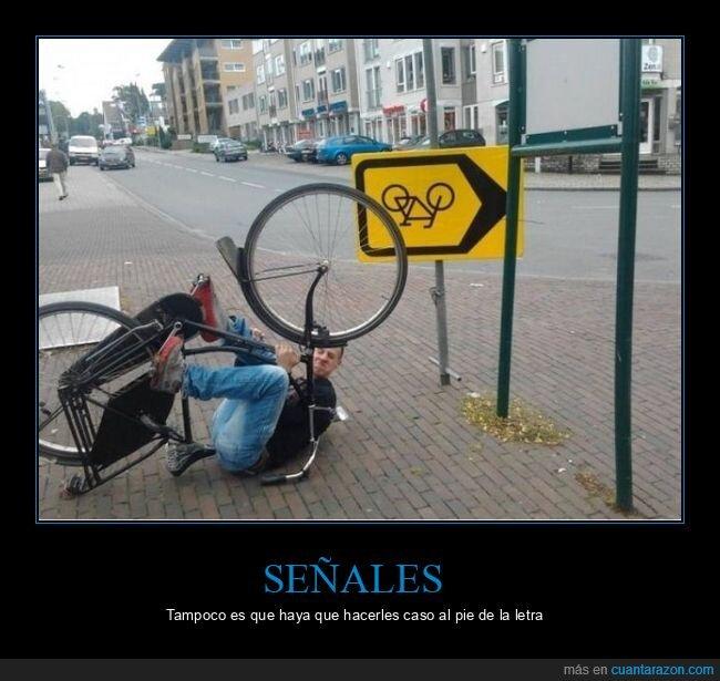 al revés,bicicleta,señal