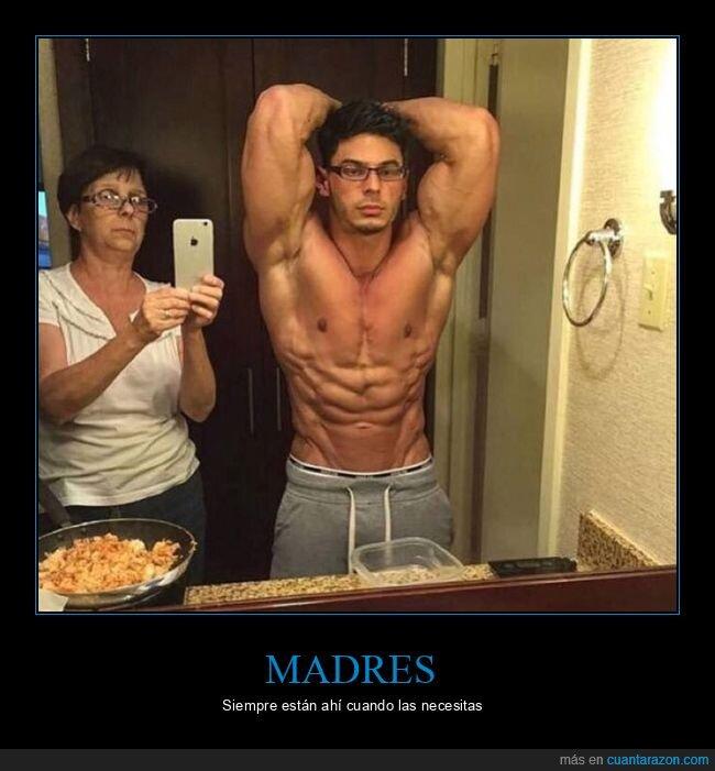 cachas,espejo,foto,madre