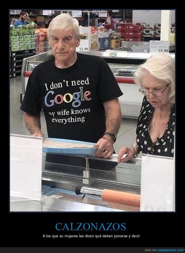calzones,camiseta,google,mujer,sabe todo