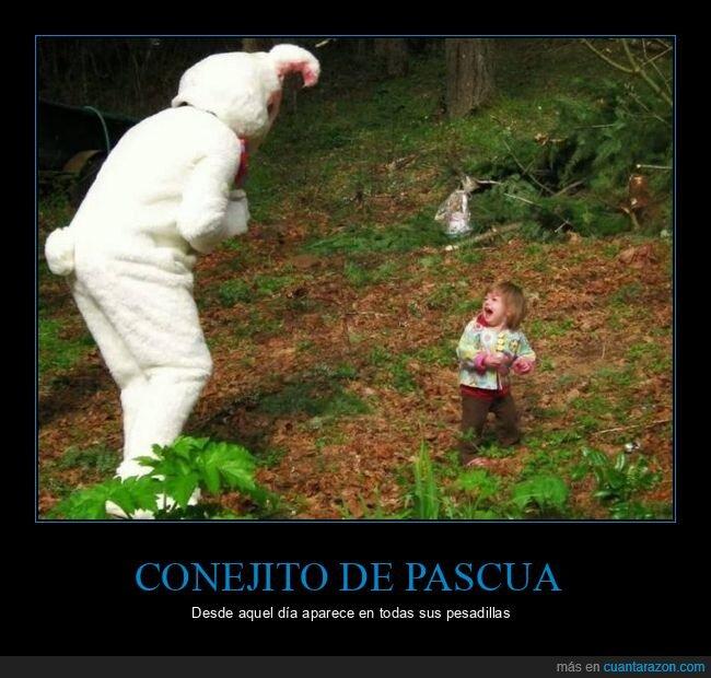 conejo,miedo,niña,pascua