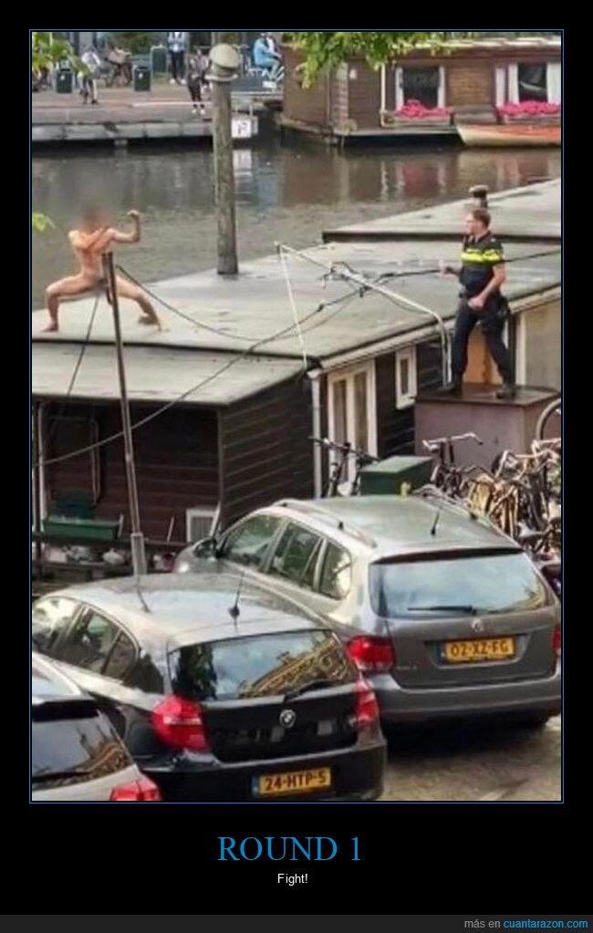 desnudo,policía,tejado,wtf