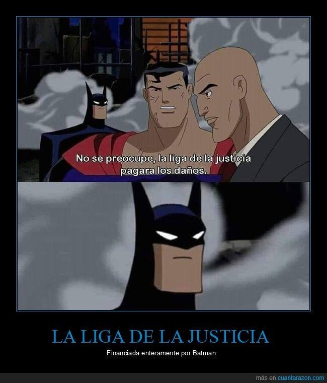 batman,daños,la liga de la justicia,pagar,superman