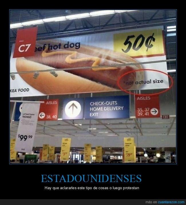 carteles,hot dog,tamaño