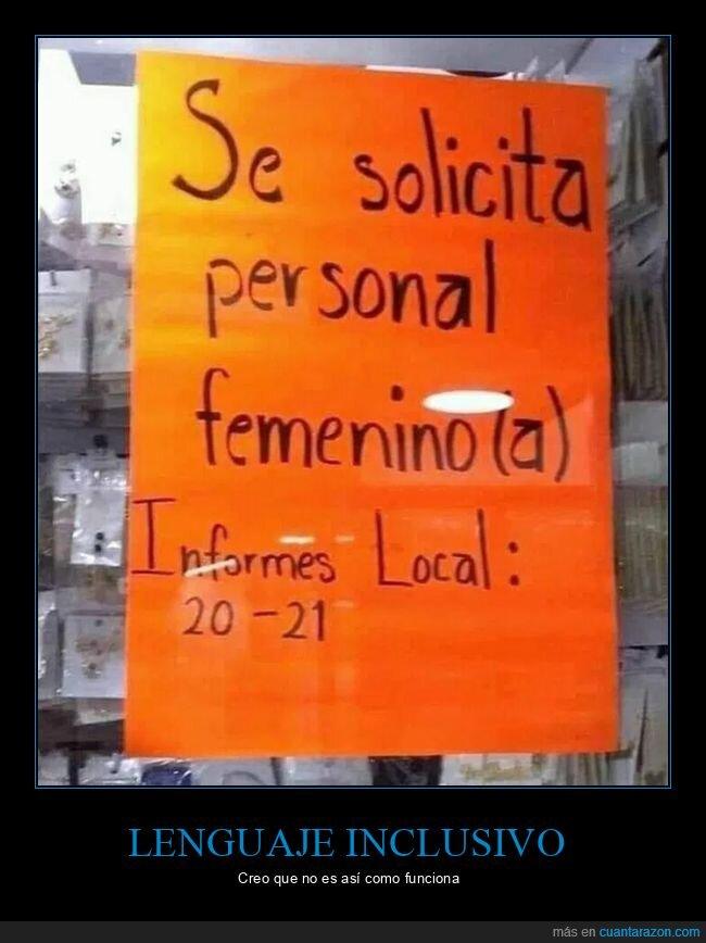 carteles,contratar,lenguaje inclusivo
