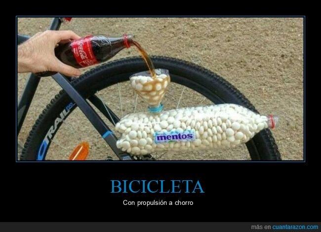 bicicleta,cocacola,mentos