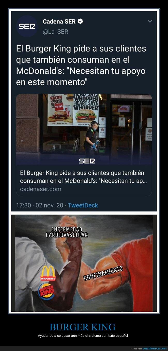 burger king,confinamiento,enfermedad cardiovascular,mcdonald's