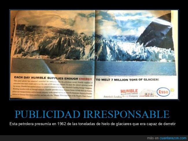 anuncio,glaciares,hielo,petrolera,retro