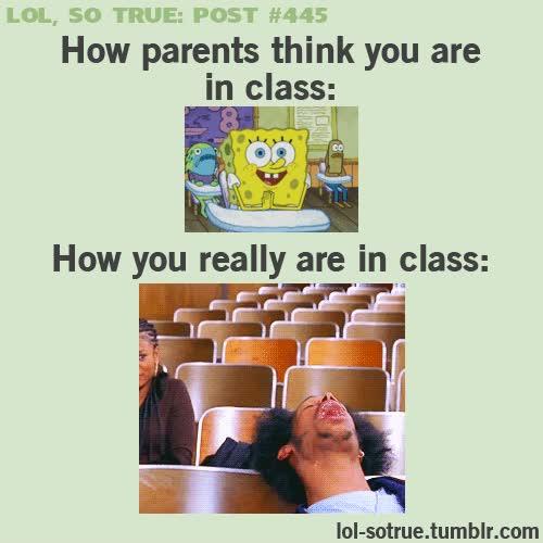 Enlace a Como tus padres creen que estás en clase y cómo estás