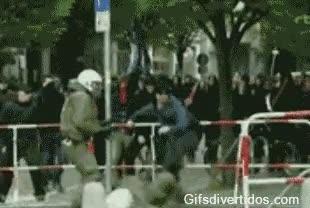 Enlace a Artes marciales involuntarias en una manifestación