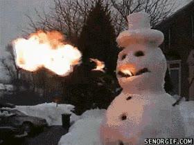 Enlace a Un muñeco de nieve escupe-fuego, ¿dónde está tu dios ahora?