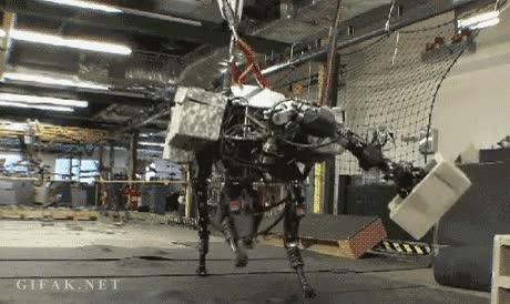 Enlace a Perro robot lanzando un bloque de hormigón