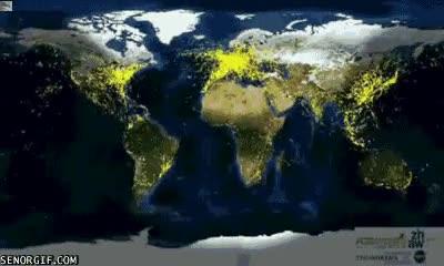 Enlace a El tráfico aéreo de todo el mundo en 24 horas en un mapa