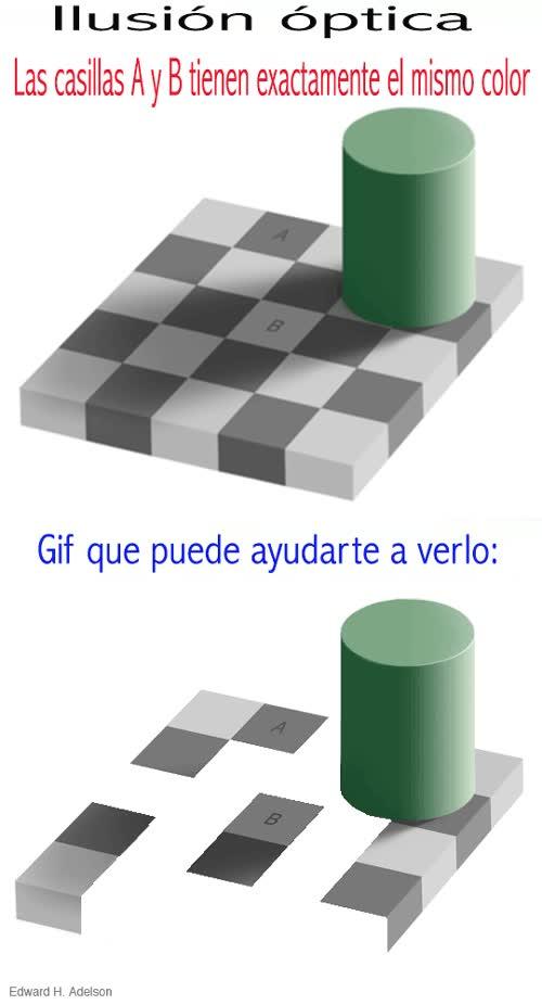 Enlace a Ilusiones ópticas: las casillas A y B tienen exactamente el mismo color
