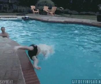 Enlace a Prepara la cámara hijo, verás el mejor salto a la piscina de todos los tiempos