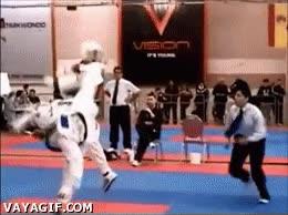 Enlace a Acabar un combate de un solo golpe, menudo patadón