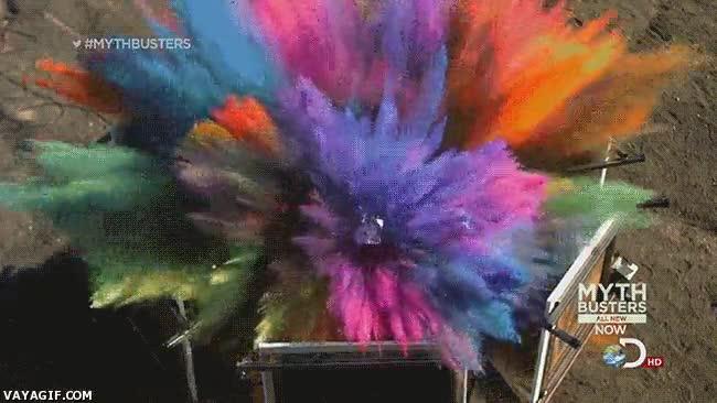 Enlace a Explosión de pintura en 'Mythbusters'