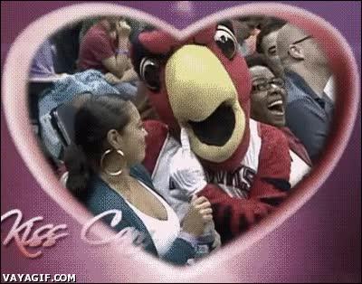 Enlace a Nunca salgas en la Kiss Cam con la mascota de un equipo