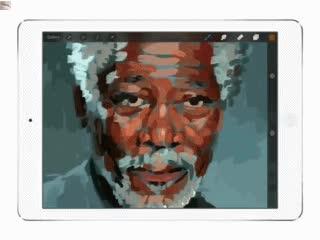 Enlace a Retrato de Morgan Freeman pintado en iPad únicamente con los dedos