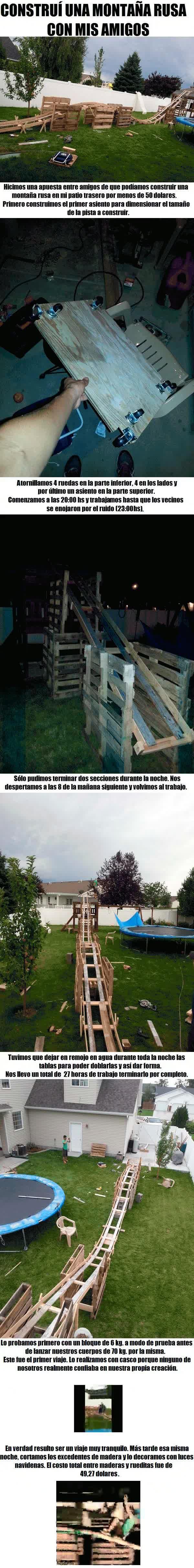 Enlace a Construcción de una montaña rusa en el jardín
