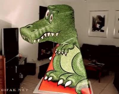 Enlace a Increíble ilusión óptica con este T-Rex de cartón