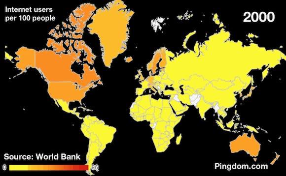 Enlace a Número de internautas por cada 100 habitantes en el mundo entre 1990 y 2010 por país