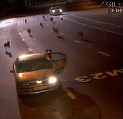 Enlace a Una manada de lobos corriendo por una carretera rusa y un policía de tráfico se caga vivo