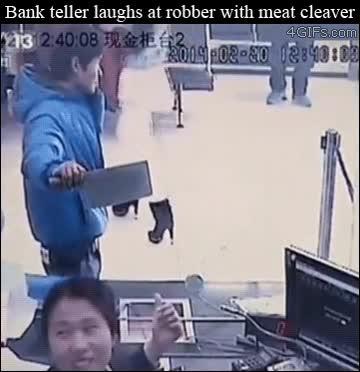 Enlace a Si vas a atracar un banco, no te tomarán muy en serio con un cuchillo de carnicero