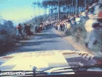 Enlace a Así se ve un rally desde dentro del coche, raro que no haya más atropellos de inconscientes