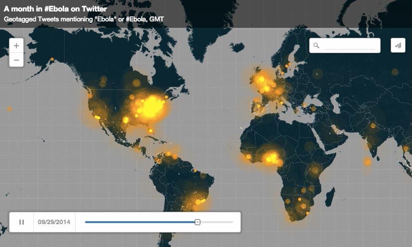 Enlace a Tweets geolocalizados sobre el Ébola de septiembre a octubre