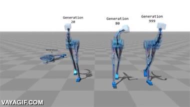 Enlace a Simulaciones de inteligencia artificial que se enseñan a sí mismas a caminar